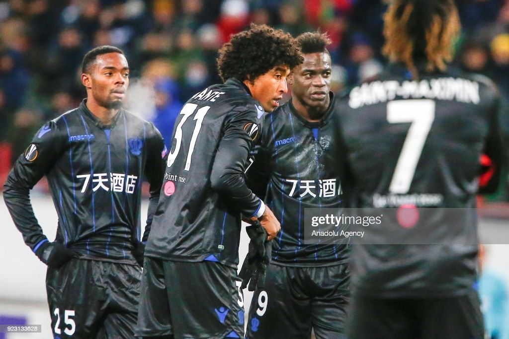 Wylan Cyprien (25), Dante (31), Mario Balotelli (9) and of Nice are seen during the UEFA Europa League round of 32, second leg soccer match between Lokomotiv Moscow and Nice at the Stadion Lokomotiv in Moscow, Russia on February 22, 2018.