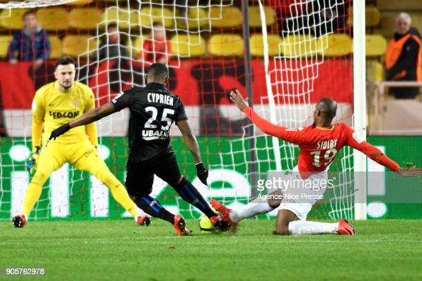 Wylan Cyprien of Nice and Danijel Subasic and djibril Sidibe of Monaco during the Ligue 1 match between AS Monaco and OGC Nice at Stade Louis II on...