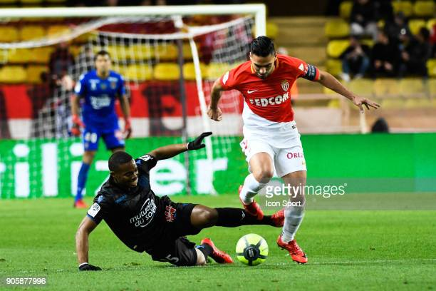 Wylan Cyprien of Nice and Falcao of Monaco during the Ligue 1 match between AS Monaco and OGC Nice at Stade Louis II on January 16 2018 in Monaco