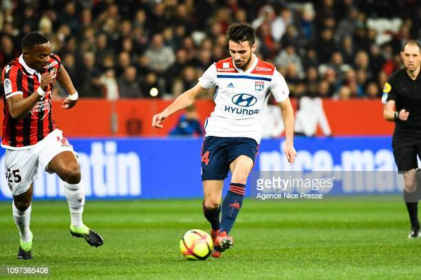 Wylan Cyprien of Nice and Leo Dubois of Lyon during the Ligue 1 match between Nice and Lyon at Allianz Riviera on February 10 2019 in Nice France