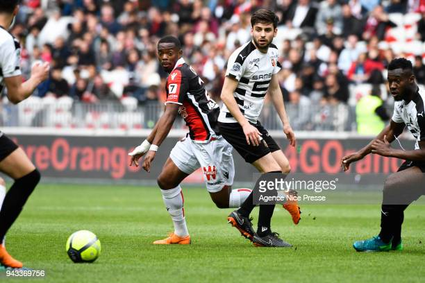 Wylan Cyprien of Nice and Sanjin Prcic of Rennes during the Ligue 1 match between OGC Nice and Stade Rennes at Allianz Riviera on April 8 2018 in Nice