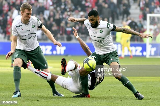 Wylan Cyprien of Nice and Yann M'Vila of Saint Etienne during the Ligue 1 match between OGC Nice and AS Saint Etienne at Allianz Riviera Stadium on...