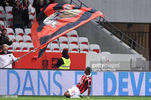 Wylan Cyprien of Nice celebrates his goal during the Ligue 1 match between Nice and Toulouse at Allianz Riviera Stadium on March 15, 2019 in Nice,...