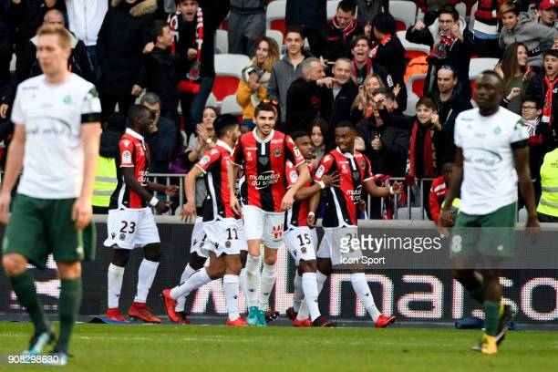 Wylan CYPRIEN of Nice celebrates the first goal during the Ligue 1 match between OGC Nice and AS Saint Etienne at Allianz Riviera Stadium on January...