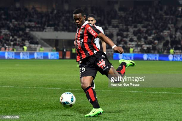 Wylan Cyprien of Nice during the French Ligue 1 match between Nice and Montpellier on February 24 2017 in Nice France