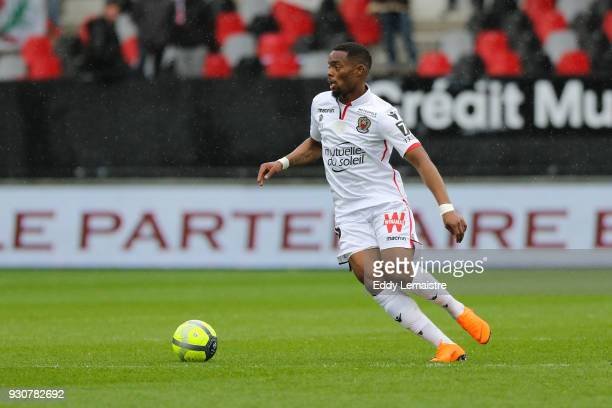 Wylan Cyprien of Nice during the Ligue 1 match between EA Guingamp and OGC Nice at Stade du Roudourou on March 11 2018 in Guingamp