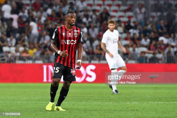 Wylan Cyprien of Nice during the Ligue 1 match between OGC Nice and Olympique de Marseille on August 28, 2019 in Nice, France.
