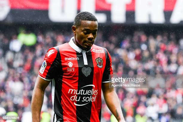 Wylan Cyprien of Nice during the Ligue 1 match between OGC Nice and Paris Saint Germain at Allianz Riviera on March 18 2018 in Nice