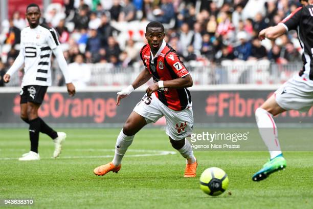 Wylan Cyprien of Nice during the Ligue 1 match between OGC Nice and Stade Rennes at Allianz Riviera on April 8 2018 in Nice