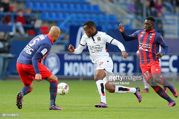 Wylan Cyprien of Nice during the Ligue 1 match between SM Caen and OGC Nice at Stade Michel D'Ornano on November 6 2016 in Caen France