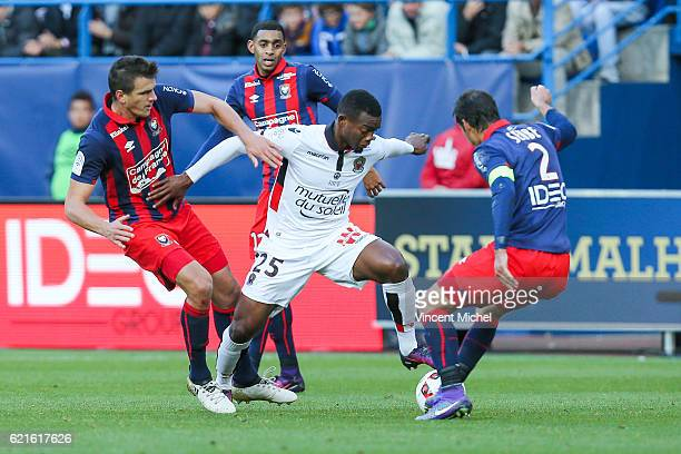 Wylan Cyprien of Nice during the Ligue 1 match between SM Caen and OGC Nice at Stade Michel D'Ornano on November 6, 2016 in Caen, France.