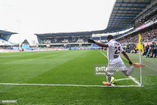 Wylan Cyprien of Nice during the Ligue 1 match between Troyes and OGC Nice on April 1 2018 in Troyes France