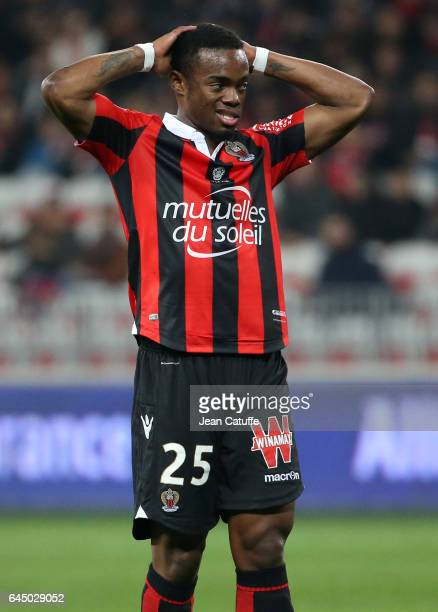 Wylan Cyprien of Nice reacts during the French Ligue 1 match between OGC Nice and Monptellier Herault SC at Allianz Riviera stadium on February 24...