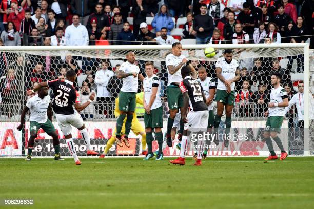 Wylan CYPRIEN of Nice scores the first goal during the Ligue 1 match between OGC Nice and AS Saint Etienne at Allianz Riviera Stadium on January 21...