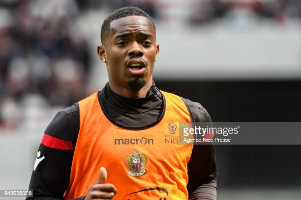 Wylan Cyprien of Nice warm up before the Ligue 1 match between OGC Nice and Stade Rennes at Allianz Riviera on April 8 2018 in Nice