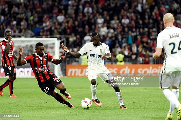 Wylan Cyprien of OGC Nice and Tiemoue Bakayoko of Monaco during the Ligue 1 match between OGC Nice and AS Monaco at Allianz Riviera on September 21...