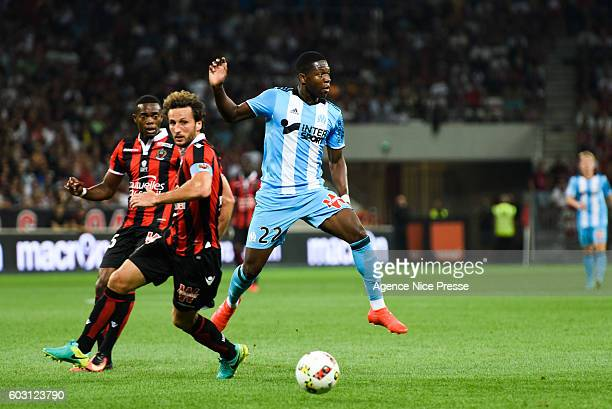 Wylan Cyprien Paul Baysse of Nice and Aaron Leya Iseka of OM during the french Ligue 1 match between Ogc Nice and Olympique de Marseille at Allianz...