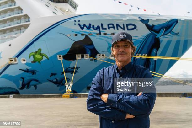 Wyland artist of the Norwegian Bliss hull and conservationist poses for a photo at Pier 66 on May 30 2018 in Seattle Washington