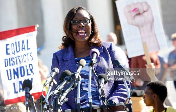 Wylecia Wiggs Harris CEO of the League of Women Voters speaks during a rally to call for 'An End to Partisan Gerrymandering' at the Supreme Court of...