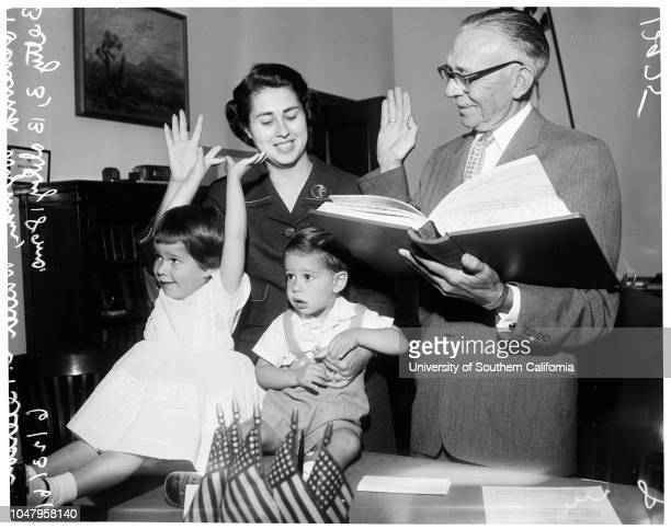 Wyman swearing in 23 June 1961 Councilwoman Rosalind Wyman Walter E Peterson Betty 3 yearsBobby 18 monthsCaption slip reads 'Photographer Mitchell...