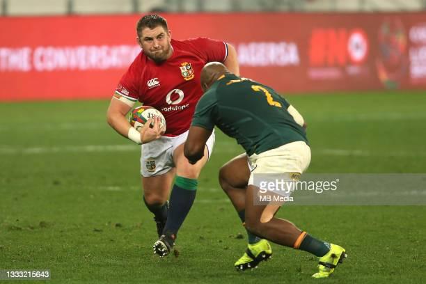 Wyn Jones of the British & Irish Lions attempts to get past Bongi Mbonambi of South Africa during the 3rd Test between South Africa and the British &...