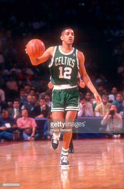 J Wynder of the Boston Celtics dribbles during an NBA game against the Philadelphia 76ers on April 18 1991 at the Spectrum in Philadelphia...