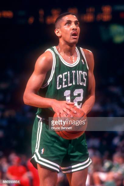 J Wynder of the Boston Celtics gets ready to take his freethrow during an NBA game against the Philadelphia 76ers on April 18 1991 at the Spectrum in...