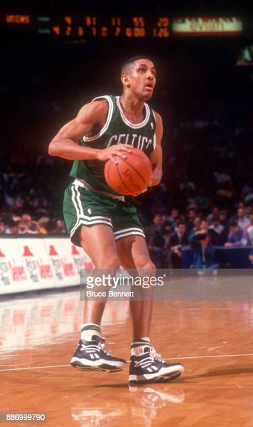 J Wynder of the Boston Celtics gets ready to take the shot during an NBA game against the Philadelphia 76ers on April 18 1991 at the Spectrum in...