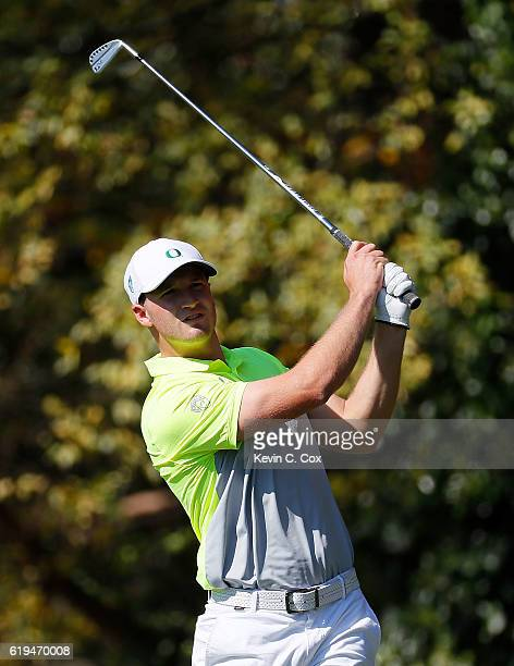Wyndham Clark of Oregon tees off the second hole during day 1 of the 2016 East Lake Cup at East Lake Golf Club on October 31 2016 in Atlanta Georgia