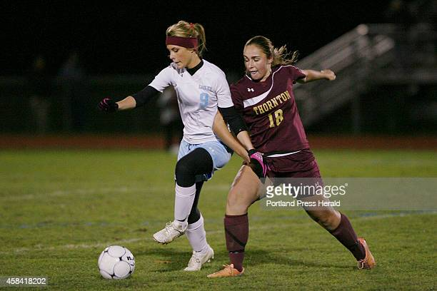 Wyndham's Melissa Morton left fends off Thornton Academy Captain Katharine Senechal right during the first half of their game Monday Nov 3 2014 in...
