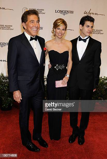 Wynn Resorts Chairman CEO Steve Wynn wife Andrea Hissom and Nick Hissom arrive at the Andre Agassi Foundation for Education's 16th Grand Slam for...