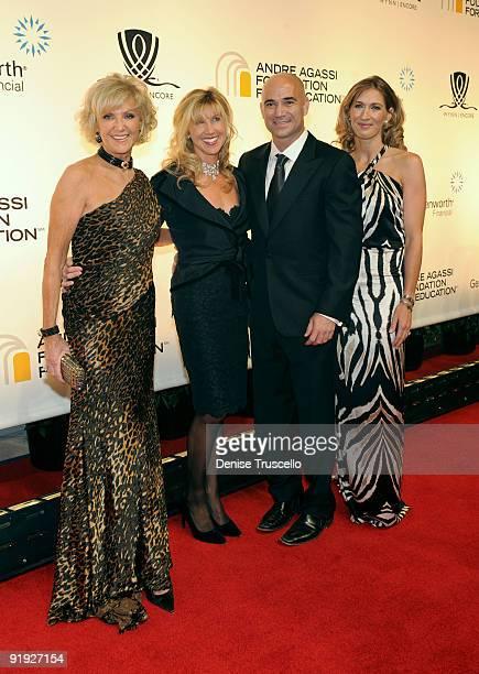 Wynn Resorts Director Elaine Wynn daughter Kevyn Wynn former tennis player Andre Agassi and wife former tennis player Stefanie Graf arrive at the...