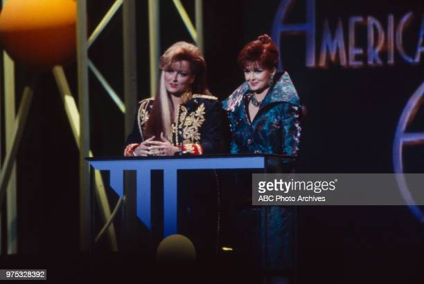 Wynonna Judd Naomi Judd The Judds presenting on the 17th Annual American Music Awards Shrine Auditorium January 22 1990