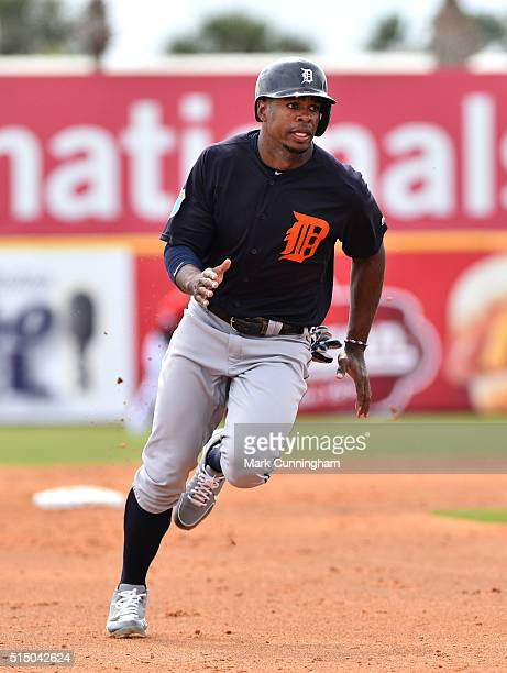Wynton Bernard of the Detroit Tigers runs the bases during the Spring Training game against the Washington Nationals at Space Coast Stadium on March...