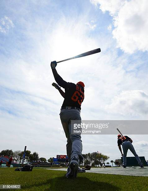 Wynton Bernard of the Detroit Tigers warmsup prior to the Spring Training game against the Washington Nationals at Space Coast Stadium on March 5...