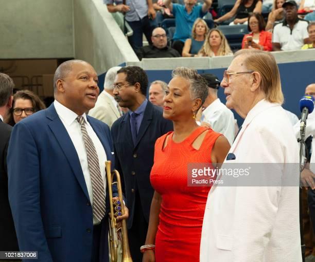 Wynton Marsalis Katrina Adams Oscar Cohen attend New Louis Armstrong stadium dedication at USTA Billie Jean King National Tennis Center