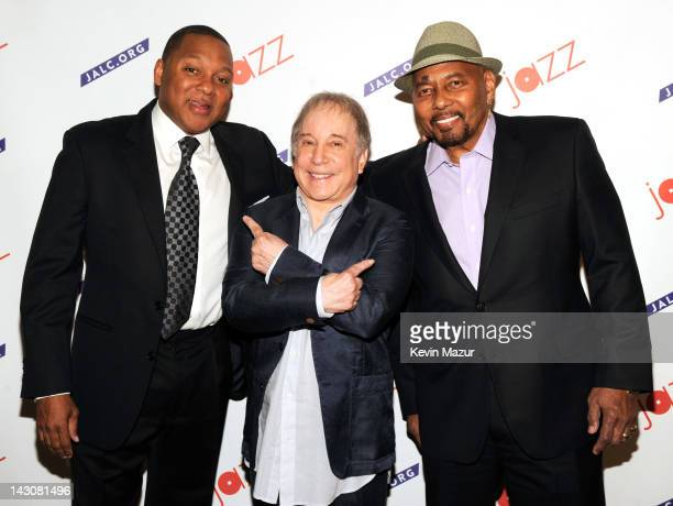 Wynton Marsalis Paul Simon and Aaron Neville backstage before Paul Simon Wynton Marsalis Collaborate On The Paul Simon Songbook With Special Guest...
