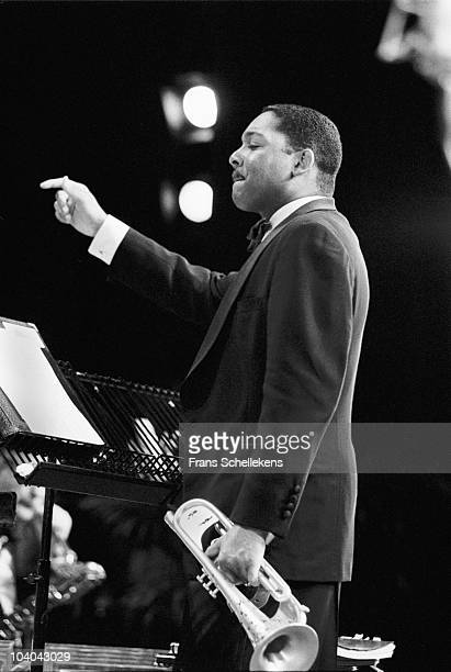 Wynton Marsalis performs on stage, conducting his orchestra, at The North Sea Jazz Festival on July 13 1995 in The Hague, Netherlands.