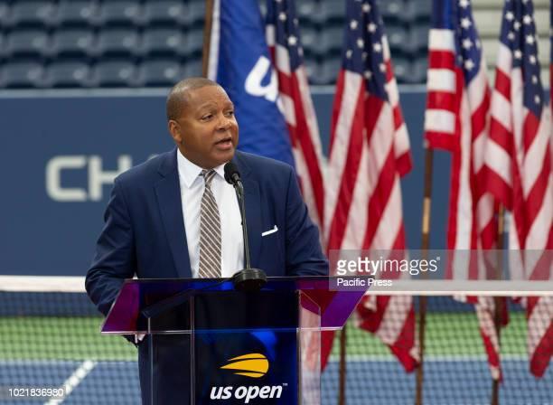 Wynton Marsalis speaks during New Louis Armstrong stadium dedication at USTA Billie Jean King National Tennis Center