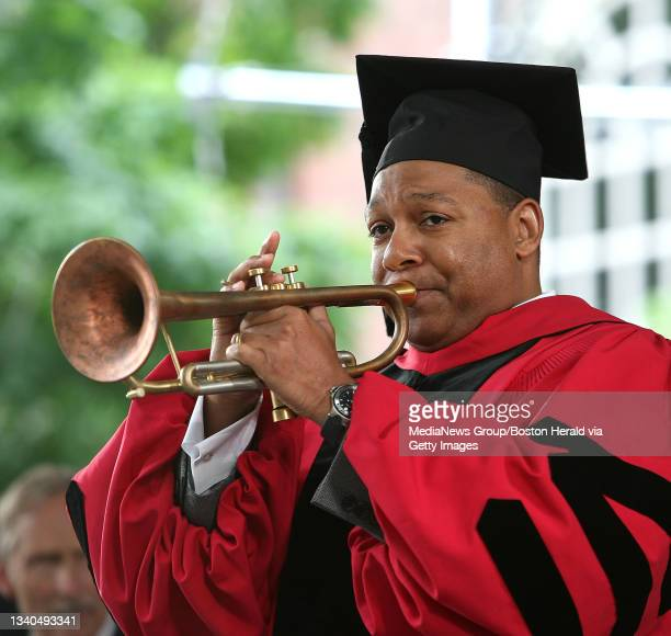 Wynton Marsalis toots his horn at the Harvard University Commencement in Harvard Yard. Saved in fri