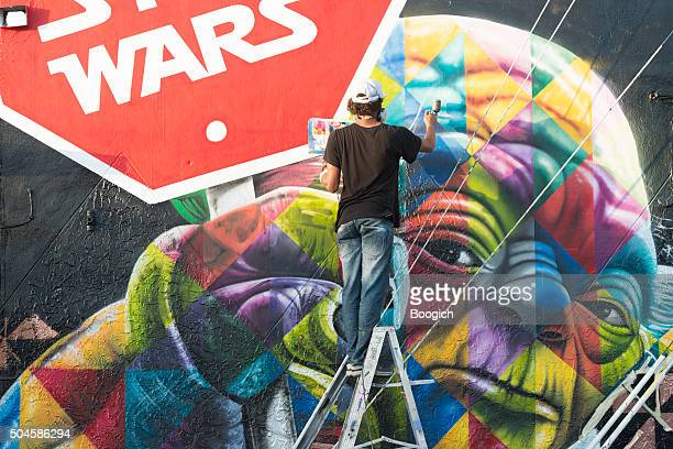Wynwood Miami Graffiti Artist Spray Painting Colorful Mural