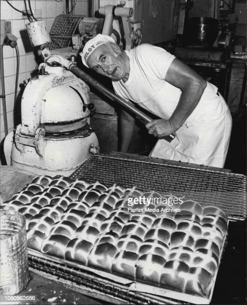 Wynyards famous Hot Cross Bun maker Bill Hooper preparing some of this years buns for the last timeBill Hooper at Bows Bakery with some of the 3000...