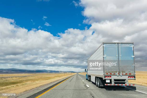 USA, Wyoming, Albany County, Truck on Interstate 80