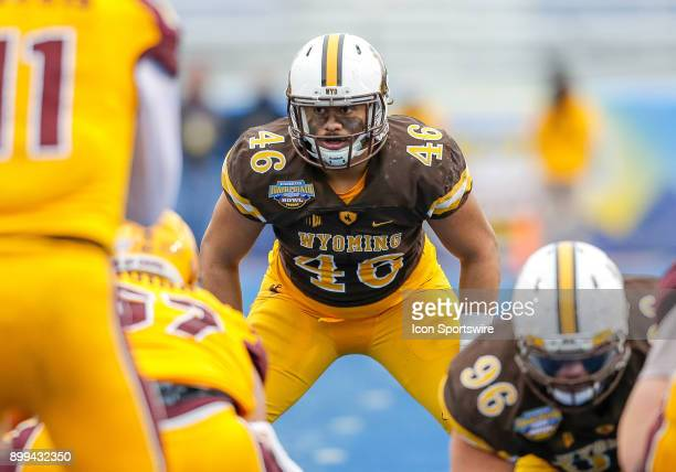 Wyoming Cowboys linebacker Cassh Maluia during Famous Idaho Potato Bowl featuring the Central Michigan Chippewas and Wyoming Cowboys on December 22...