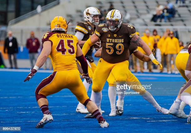 Wyoming Cowboys offensive tackle Ryan Cummings during Famous Idaho Potato Bowl featuring the Central Michigan Chippewas and Wyoming Cowboys on...