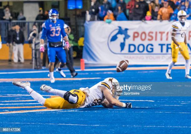 Wyoming Cowboys tight end Austin Fort misses a pass on a third down play during the regular season game between the Wyoming Cowboys verses the Boise...