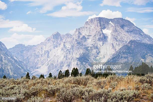 USA, Wyoming, Grand Teton National Park, Mountain landscape and cloudy sky