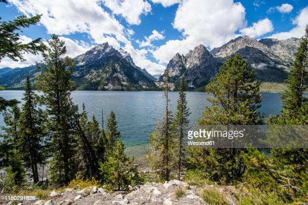 USA, Wyoming, Jenny lake before the Teton range in the Grand Teton National Park