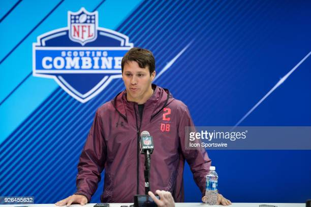 Wyoming quarterback Josh Allen answers questions from the media during the NFL Scouting Combine on March 2 2018 at the Indiana Convention Center in...