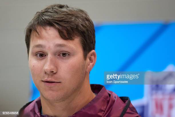 Wyoming quarterback Josh Allen answers questions from the media during the NFL Scouting Combine on March 02 2018 at Lucas Oil Stadium in Indianapolis...